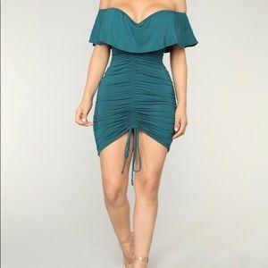 Green Fashion nova off the shoulder dress